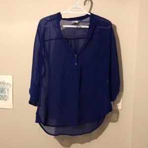Blue translucent blouse for women